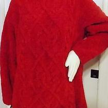 Express Hand Knitted Cable Stitched Red Heavy Sweater  Very Warm Photo