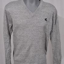 Express Heathered Gray Pure Cotton Lion Moniker v-Neck Sweater Sz Large L Photo