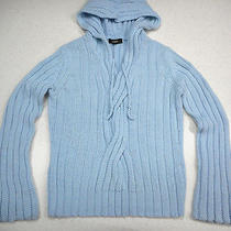 Express Hooded Sweater M/l Light Blue Cable Knit Photo