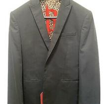 Express Houston Rockets Slim Suit Jacket/blazer Size 38 Regular Black Leopard Photo