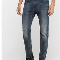 Express - Hyper Stretch  Slim Fit Light Blue Jeans - Men Size 33 X 32 Photo