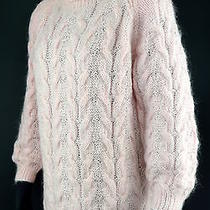 Express Internationale Hand Knit Fuzzy Pink Cable Knit Turtleneck Sweater Sz M Photo
