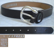 Express Italian Leather Women's Belt Skinny Silver Dark Brown Small S (27) Photo