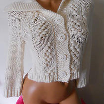 Express Ivory Cable Knit Cropped 3/4 Sleeve Button Down Sweater Cardigan S Photo