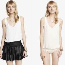 Express Ivory Chiffon Deep v-Neck Bikini Bodysuit Sz Medium Z255 Photo