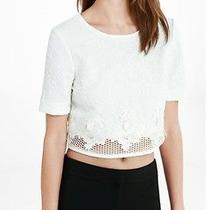 Express Ivory Crochet Crop Top Size Xs Nwt Photo