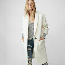 Express Ivory Editor Pick Wool Cocoon Coat Sz Small Photo