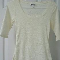 Express Ivory Off White Crochet Lace Knit Floral Design Shirt Scoop Neck Top Xs Photo