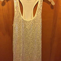 Express Ivory Sequined Cotton-Blend Tank Top - Petite Small Photo