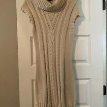 Express Ivory Sweater Dress Short Sleeve Cowl Neck Size Small Photo
