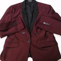 Express Jacket 12 Blazer Large Plum Burgundy Wine Black Lapels Tux Women's L  Photo