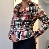 Express Jacket Medium Red Black Cream Plaid Coat Wool Blend Blazer Short Photo