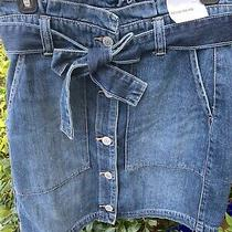 Express Jean Button Front Ruffle Jean Skirt Sz 6 Nwt Photo