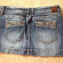 Express Jean Mini Skirt With Rhinestones Size 4 Photo