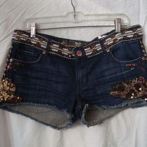 Express Jean Shorts Embellished With Gold Brown White Sequin Work of Art Photo