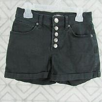 Express Jean Shorts Size 00 Black Button Front Five Pocket Belt Loops Cuff  Photo