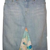 Express Jean Skirt With Floral Insert - Size 6 Photo