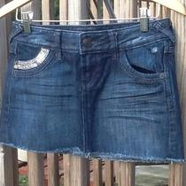 Express Jeans 2 Women Blue Jean Crystal Country Festival Party Short Mini Skirt Photo