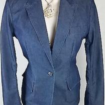 Express Jeans Blue Jean Blazer Jacket Coat Cardigan Womens Top Size Small 3 4 Photo
