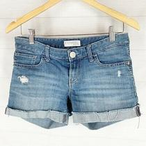 Express Jeans Shorts Sz 0 Distressed Stretch Denim Boyfriend Cuffed Low Rise  Photo