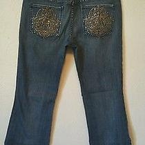 Express Jeans Size 10 Womens Gold Stitching Rhinestones in Place Photo