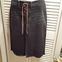 Express Jeans Skirt Dark Blue Stretch Size 1/2 Photo