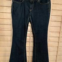 Express Jeans Stella Low Rise Sz 10 Fringe Hem Dark Blue Denim Photo