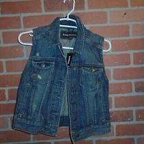 Express Jeans Womans Sleeveless Denim Jacket New With Tags Size S/p msrp69.90 Photo