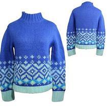 Express Jeans Women's Sweater Knit Wool Turtleneck Blue Long Sleeve Size M (F1) Photo