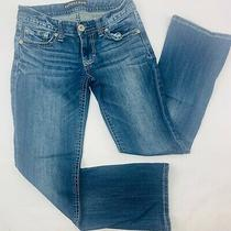 Express Jeans Womens 4s Blue Stella Boot Low Rise Med Wash Whiskers Bold Stitch Photo