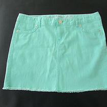 Express Jeans Womens Size 10 Light Green Distressed Jeans Mini Skirt Photo