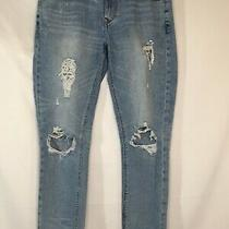 Express Jeans Womens Size 8 Distressed Girlfriend Stretch Cotton Blue Denim  Photo