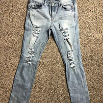 Express Jeans Womens Super Skinny Distressed Mid Rise 6 Photo