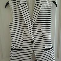 Express Junior Fully Lined Business Black White Striped Sleeveless Vest Size Xs Photo