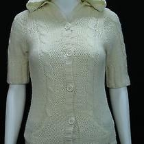 Express Juniors Xs Ivory Hooded Cable Knit Cardigan Sweater Acrylic Wool Alpaca Photo