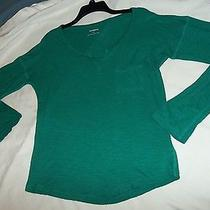 Express Kelly Green Long Sleeve Slub Knit Split Neck Knit Top Tee Sz Small Photo