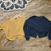 Express Knit Cropped Sweater Lot Yellow & Blue Scoop Neck Long Sleeved -Size Xs Photo