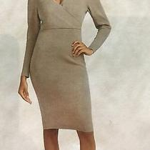 Express Knit Dress Nwt Puff Sleeves Beige - Small Photo