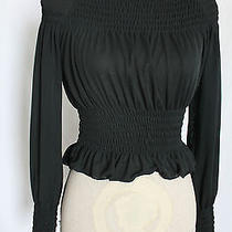 Express Knit Top Blouse Black See Through   Size Xs Polyester Photo