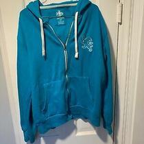 Express L Hoodie Bright Blue Large Logo Full Zip Cotton Sweatshirt  Photo