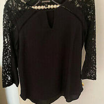 Express Lace Detail Keyhole Blouse Top Xs Black 3/4 Sleeves Photo