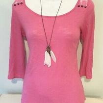 Express Lace Eyelet Crochet Top Shirt 3/4 Sleeve Bright Pink Autumn Fall Xs S Photo