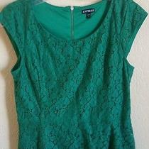 Express Lace Peplum Top Shirt Blouse Green Cup Sleeves M Photo
