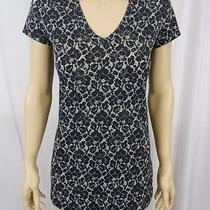Express Lace Print v Neck Tee S Photo