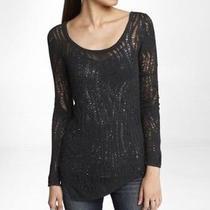 Express Lace Stitch Asymmetrical Hem Tunic Sweater Black Size M Nwt Photo