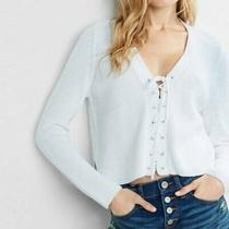 Express  Lace Up Front White Cropped Sweater Size L Photo