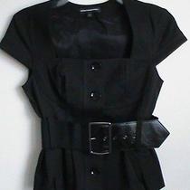 Express Ladies 0 Black Stretch Formfitting Sexy Button Belt Jacket Short Sleeve Photo