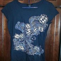 Express Ladies Flower Pattern Graphic T-Shirt Black M Photo