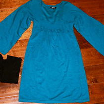 Express Ladies Juniors Size Xs Dress Knit Solid Peacock Blue Plus Black Tights Photo