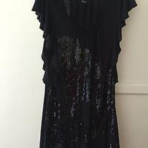 Express Ladies Sequin Embellished Silhouette Sexy Black Dress Size M Photo